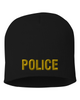 Black knit cap 8 inch with Police in Marine Gold Thread