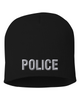 Black knit cap 8 inch with Police in Tear Drop Thread
