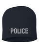 Navy knit cap 8 inch with Police in Tear Drop Thread