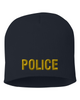Navy knit cap 8 inch with Police in Marine Gold Thread
