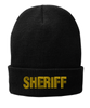 Black knit cap 12 inch with Sheriff in Marine Gold Thread
