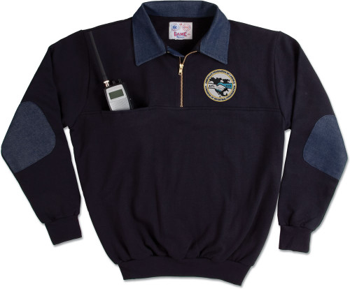 8020-D: Defender 1/4 Zip Job Shirt with Denim Collar by Game