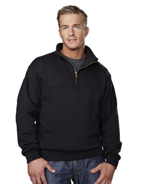 644-React-Navy 1/4 Zip Job Shirt with Soft Collar by Tri-Mountain