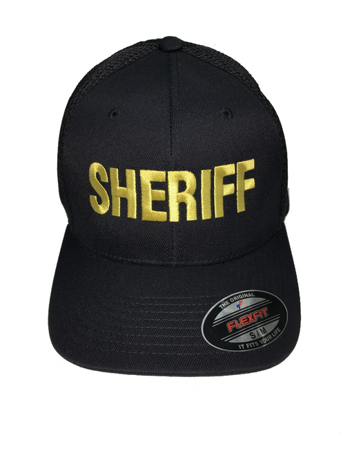 """Sheriff"" Cap Front In Marine Gold Thread on Black"