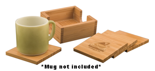 """CST01 - 4"""" x 4"""" Bamboo Square 4-Coaster Set with Holder"""