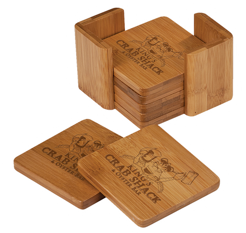 """CST011 - 3 3/4"""" x 3 3/4"""" Bamboo Square 6-Coaster Set with Holder"""
