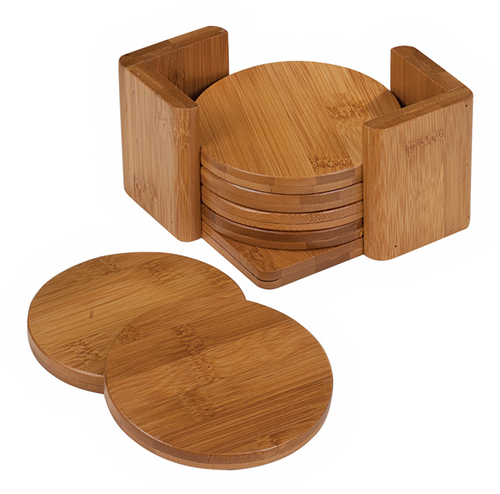 """CST012 - 3 3/4"""" Bamboo Round 6-Coaster Set with Holder"""