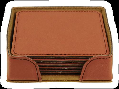 "GFT282 - 4"" Rawhide Square Laserable Leatherette 6-Coaster Set"