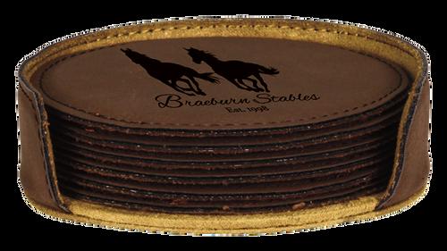 "GFT283 - 4"" Dark Brown Round Laserable Leatherette 6-Coaster Set"