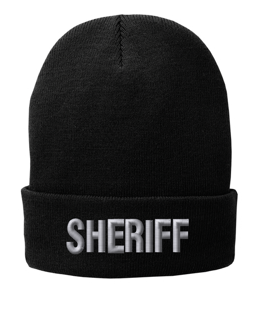 Fleece Lined Black knit cap 12 inch with Sheriff in Tear Drop Thread