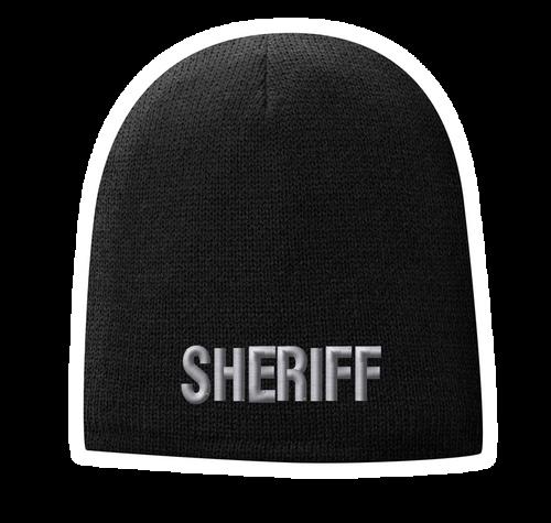 Fleece Lined Black knit cap 9 inch with Sheriff in Tear Drop Thread