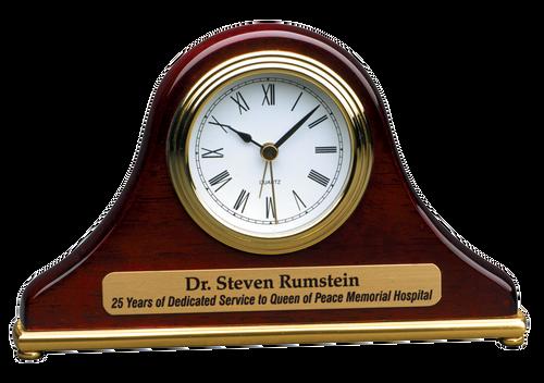 T004: Rosewood Piano Finish Mantel Desk Clock
