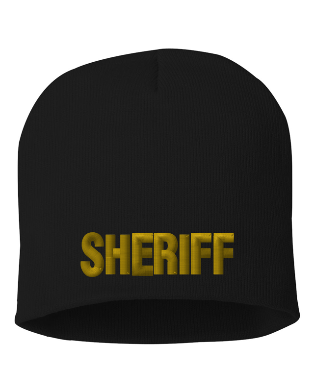 Black knit cap 8 inch with Sheriff in Marine Gold Thread