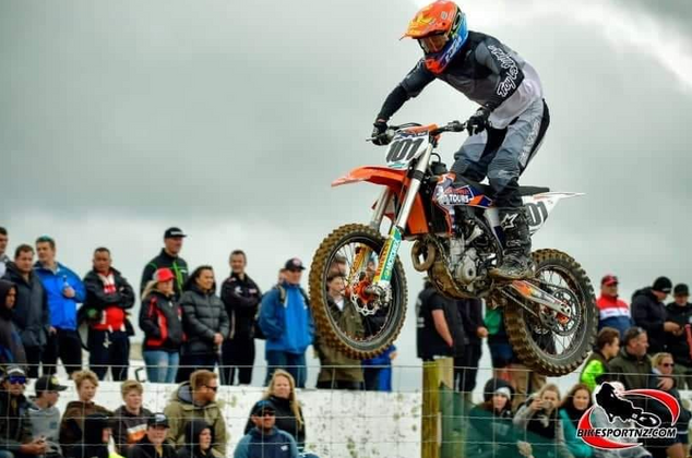 Ben Townley leads the way at the Tokoroa Supercross on Saturday night