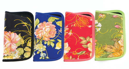 asian inspired floral scroll prints with sheen hints black, red, blue and green assortment