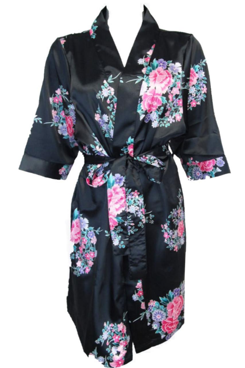 16852af4e7 Elegant Floral Print Satin Robes Available in 5 Colors