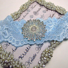 Bridal Blue Lace Garter with Shimmering Retro Crystal Brooch