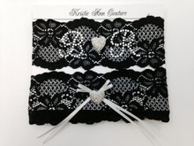 Personalized Vintage Lace Garter With Rhinestone Initials and Heart Accents