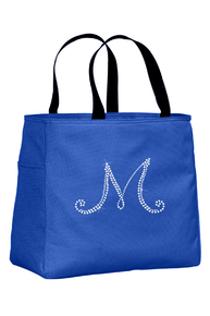 Personalized Tote Bag with Rhinestone Initial
