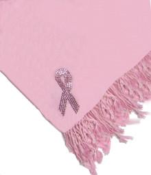 Breast Cancer Pink Crystal Ribbon Silk Pashmina