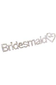 Rhinestone Swirly Heart Bridesmaid Pin