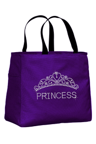 Rhinestone Princess Tote Bag with Tiara - Personalize It!
