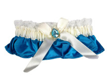 Blue and Ivory Satin and Solitaire Garter