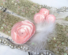 Elegant Tan Lace Bridal Garter Set with Soft Pink Flower Accents