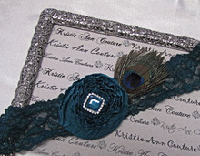 Teal on Teal Lace Bridal Garter with Peacock Feather Accent