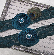 Elegant Teal on Teal Lace Bridal Garter