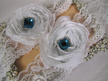 Gorgeous Tiffany Blue Crystal Bridal Garter Set