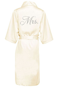 Glam Script Rhinestone Mrs. Long Satin Robe