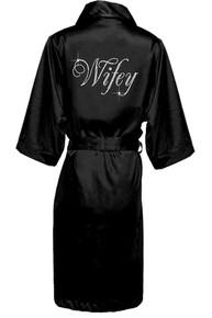 Glam Script Rhinestone Wifey Long Satin Robe