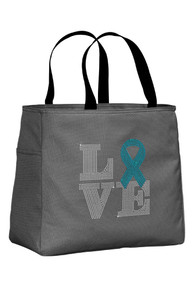 Charcoal Tote Bag with Turquoise Ribbon