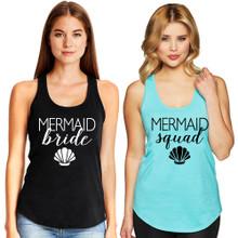 Mermaid Bride & Mermaid Squad Racerback Tank Top