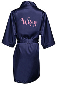 Wifey Robe with Rhinestone Accent
