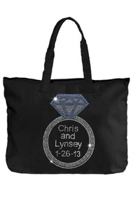 Black Tote Bag with Clear Rhinestones for Names and Date