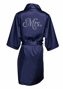 Rhinestone Mrs. Satin Robe with Heart Accent