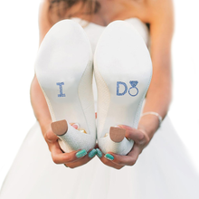 I Do Diamond Ring Shoe Applique in Light  Blue Rhinestones