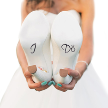 I Do Shoe Stickers for Wedding Shoes - Black and Clear Ring