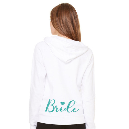 Glittery Bride Hoodie with Heart Accent