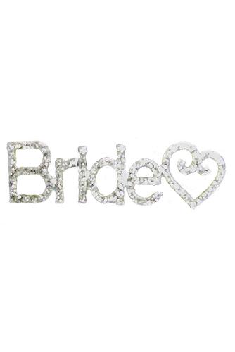 Rhinestone Bride Pin with Swirl Heart Accent