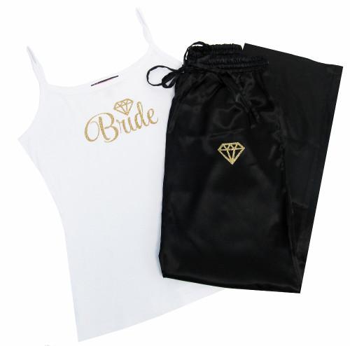 Satin Bride Pajama Pants and Cami Set with Glitter Print