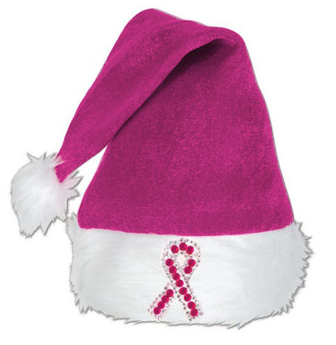 Rhinestone Pink Ribbon Santa Hat    Hot or Light Pink
