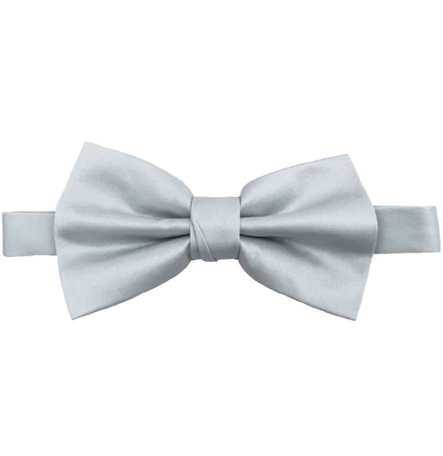 Silver Luxury Matte Satin Bow Tie with Adjustable Clasp