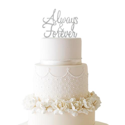 Rhinestone Always & Forever Cake Topper