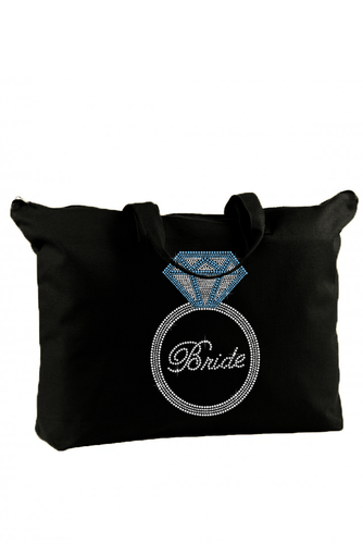 Rhinestone Bride Canvas Tote Bag with Giant Ring
