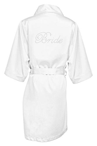 Rhinestone Bridal Party Satin Robes with Script Font