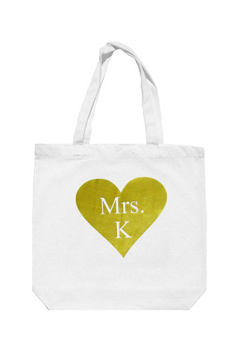 Personalized Mrs. Tote Bag with Gold Heart - Add Matching Tee or Tank!
