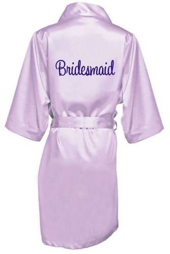 Embroidered Satin Getting Ready Robes with Bridal Party Titles